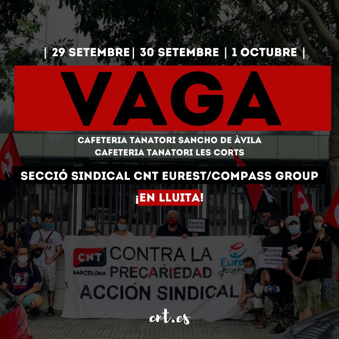 SINDICAL | VAGA A EUREST ELS DIES 29, 30 DE SETEMBRE I 1 D'OCTUBRE