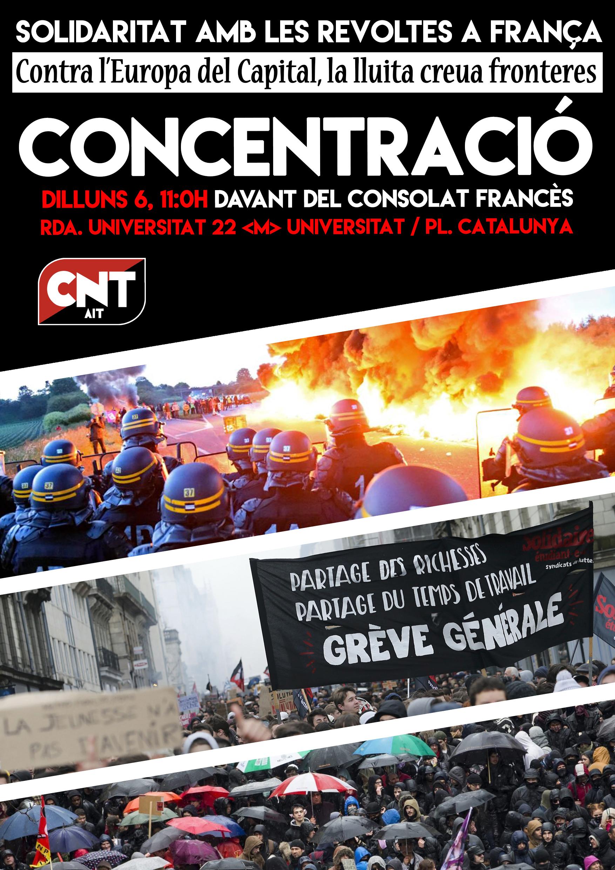 Concentració solidària amb les revoltes a França, dilluns 6, 11:00h, Consolat Francès